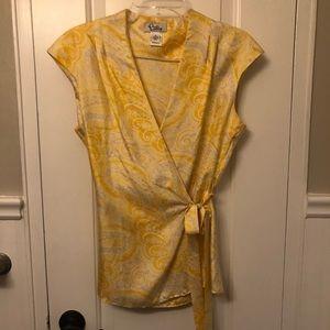 Lily Pulitzer sleeveless wrap silk top